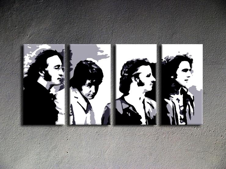 Popart schilderij Beatles 4 delig 3