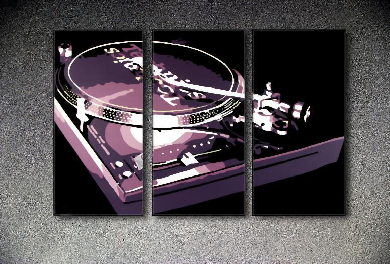 Popart schilderij DJ 3 delig
