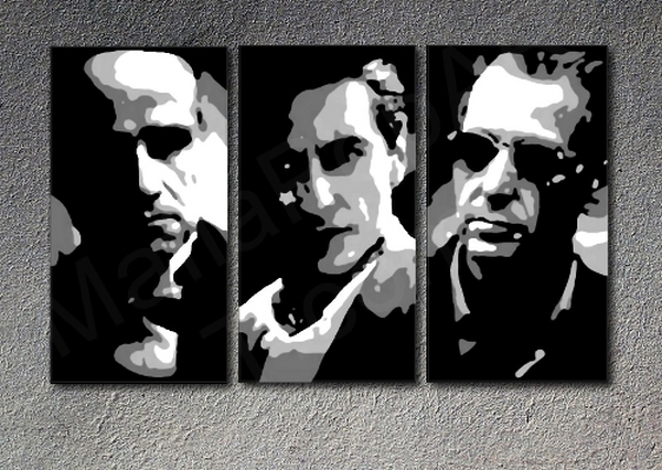 Popart schilderij Godfather 3 delig 2