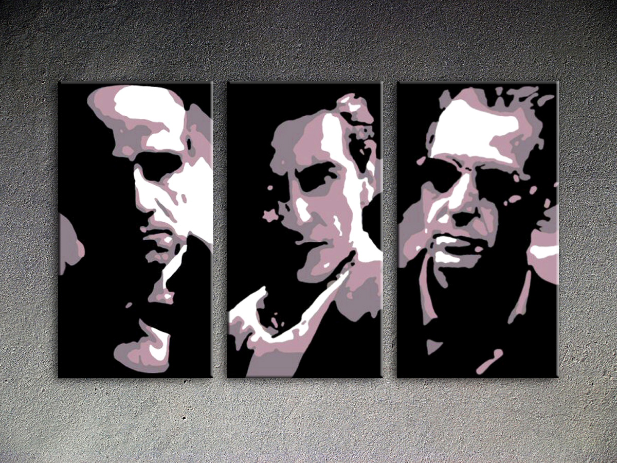 Popart schilderij Godfather 3 delig 3