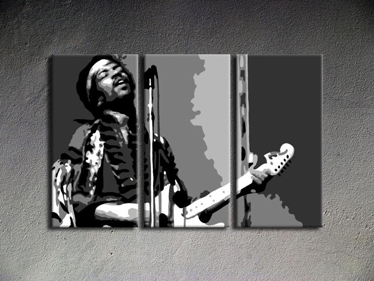 Popart schilderij Jimmy Hendrix 3 delig