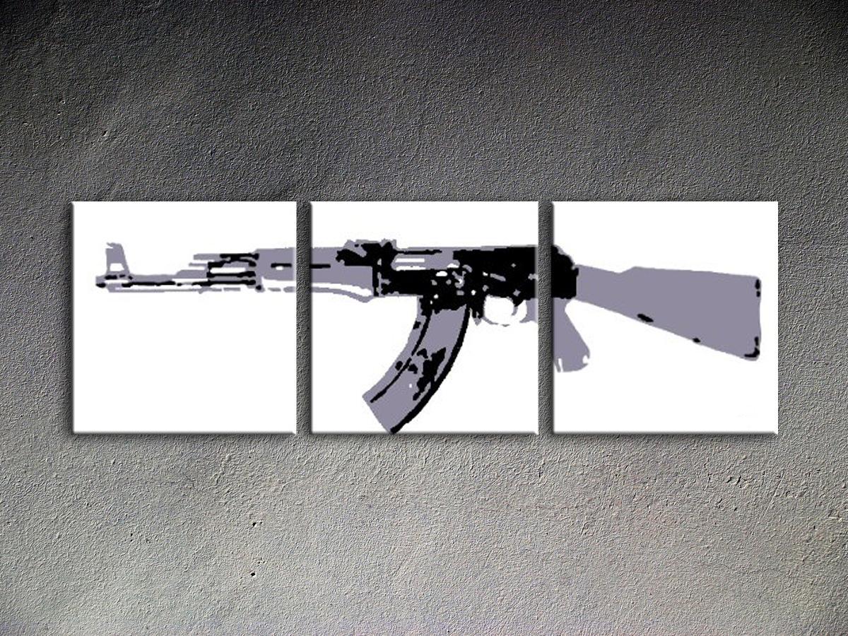 Popart schilderij Kalashnikov 2