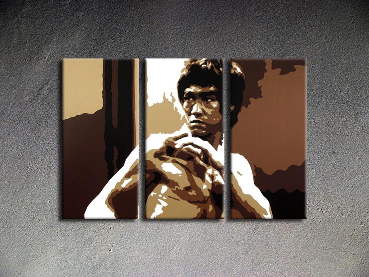 Popart schilderij AL Bruce Lee 3 delig