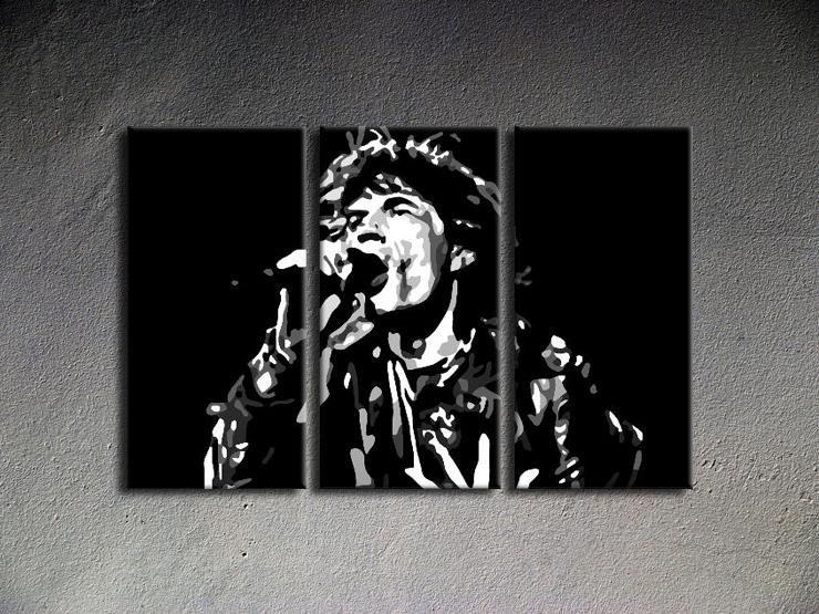 Popart schilderij Mick Jagger 3 delig