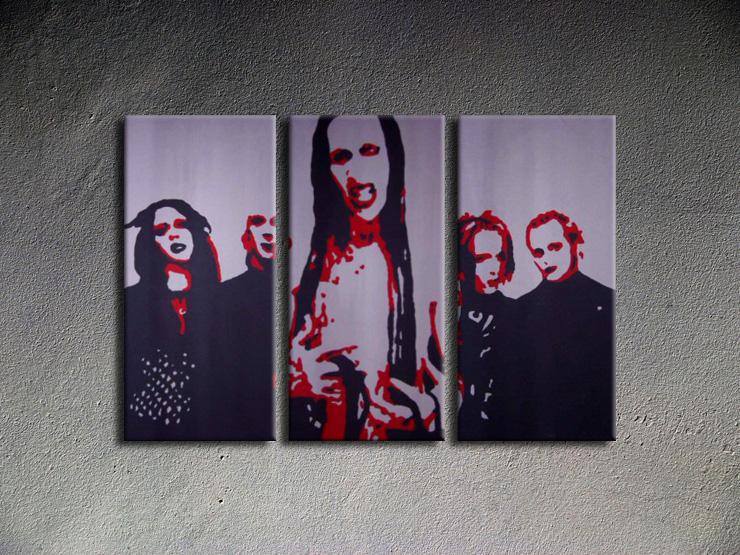 Popart schilderij Marilyn Manson 3 delig