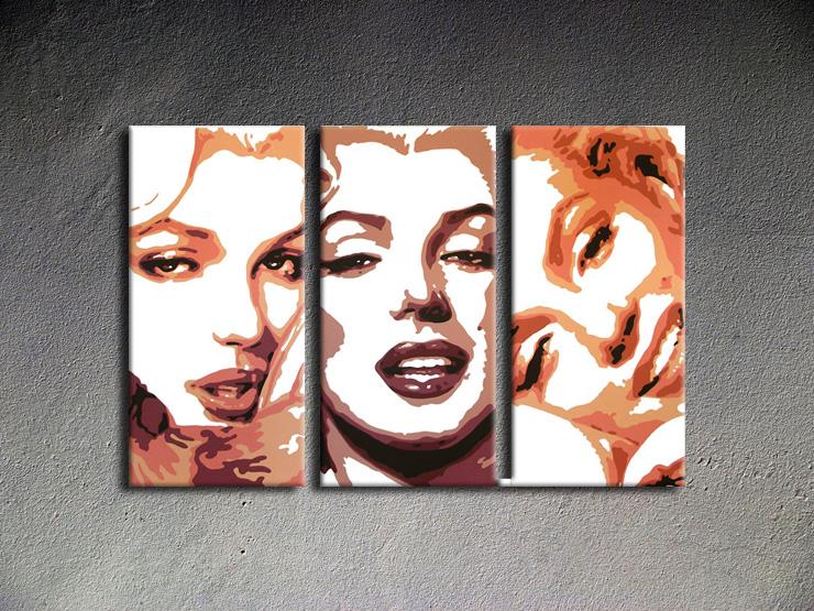 Popart schilderij Marilyn Monroe 3 delig 1