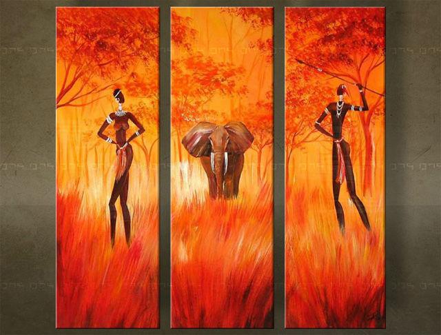 Handgeschilderd schilderij Afrika 3 delig 1809FA