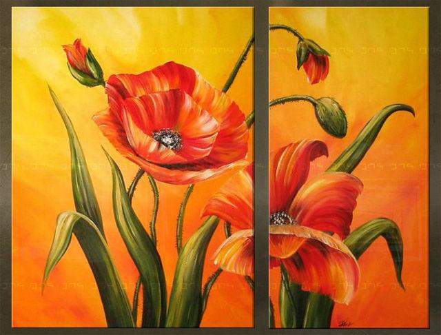 Handgeschilderd schilderij Bloemen 2 delig 2214FA