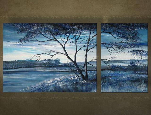 Handgeschilderd schilderij Landschappen 2 delig 2365FA