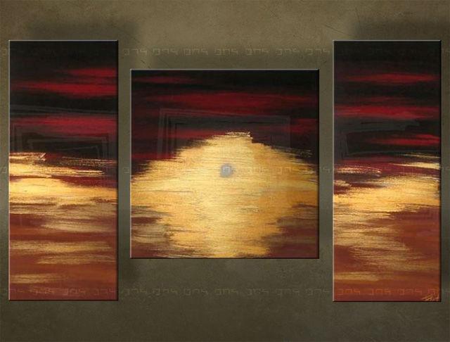 Handgeschilderd schilderij Abstract 3 delig 2531FA