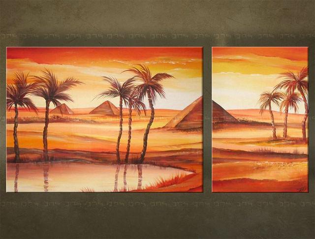 Handgeschilderd schilderij Landschappen 2 delig 2600FA