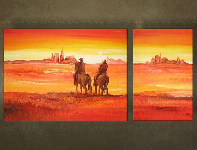 Handgeschilderd schilderij Landschappen 2 delig 2781FA