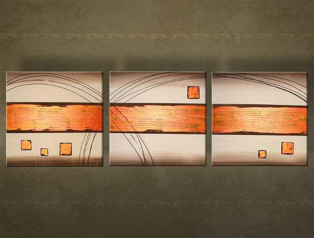 Handgeschilderd schilderij Abstract 3 delig 2843FA