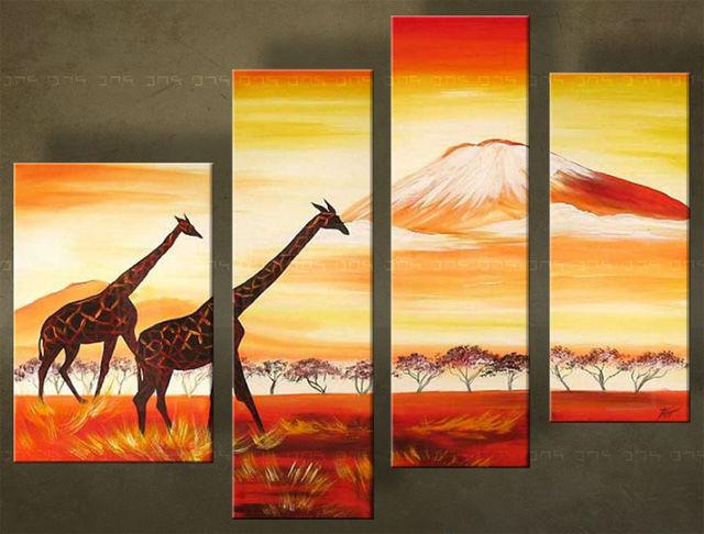 Handgeschilderd schilderij Afrika 4 delig 2994FA