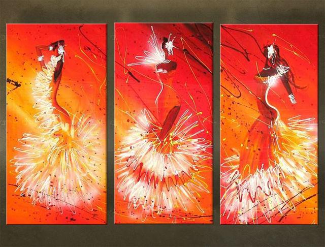 Handgeschilderd schilderij Dansen 3 delig 3100FA