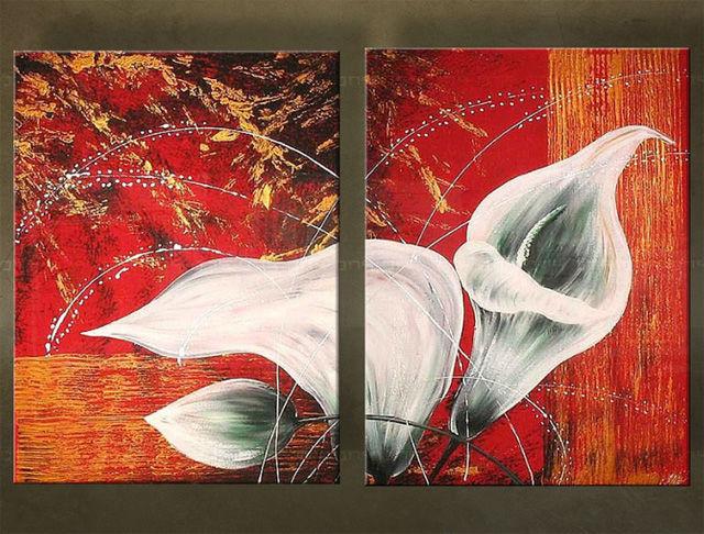 Handgeschilderd schilderij Bloemen 2 delig 4144FA