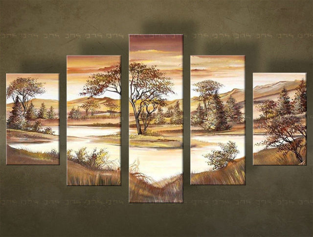 Handgeschilderd schilderij Landschappen 5 delig 4530FA