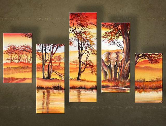 Handgeschilderd schilderij Landschappen 5 delig 4621FA