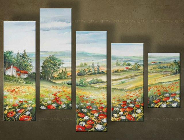 Handgeschilderd schilderij Landschappen 5 delig 4639FA