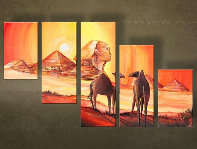 Handgeschilderd schilderij Egypte 5 delig 4660FA