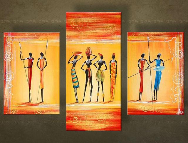 Handgeschilderd schilderij Afrika 3 delig 4701FA