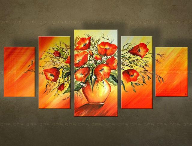 Handgeschilderd schilderij Bloemen 5 delig 4868FA