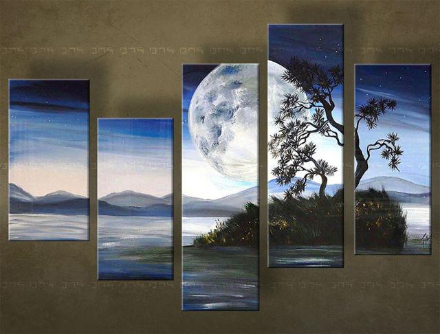 Handgeschilderd schilderij Luna 5 delig 4920FA