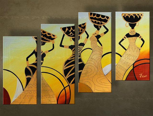 Handgeschilderd schilderij Afrika 4 delig 5089FA