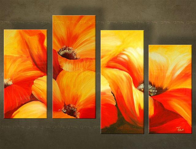 Handgeschilderd schilderij Bloemen 4 delig 5114FA