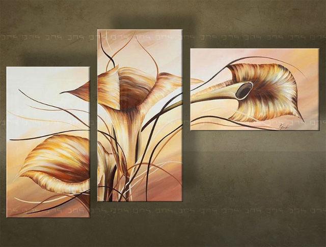 Handgeschilderd schilderij Bloemen 3 delig 5396FA