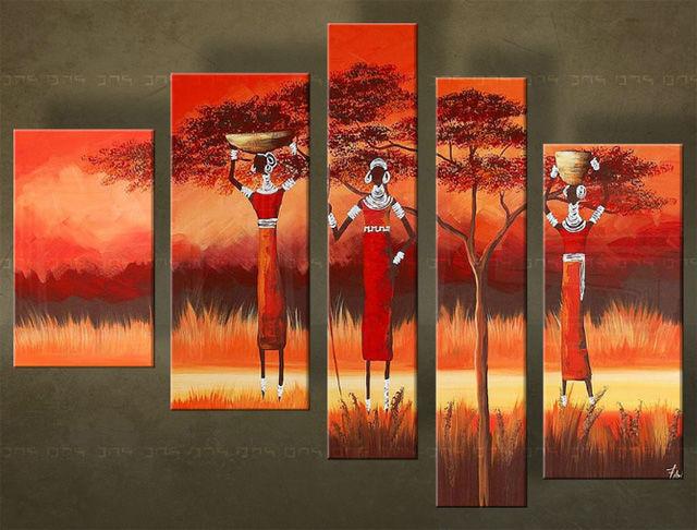 Handgeschilderd schilderij Afrika 5 delig 0 5424FA