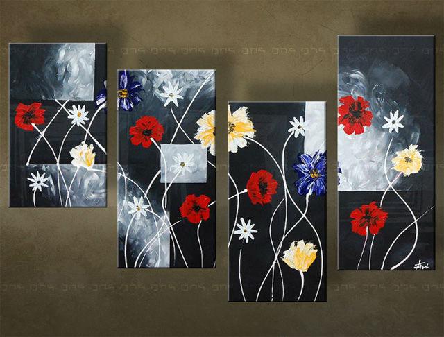 Handgeschilderd schilderij Bloemen 4 delig 5510FA