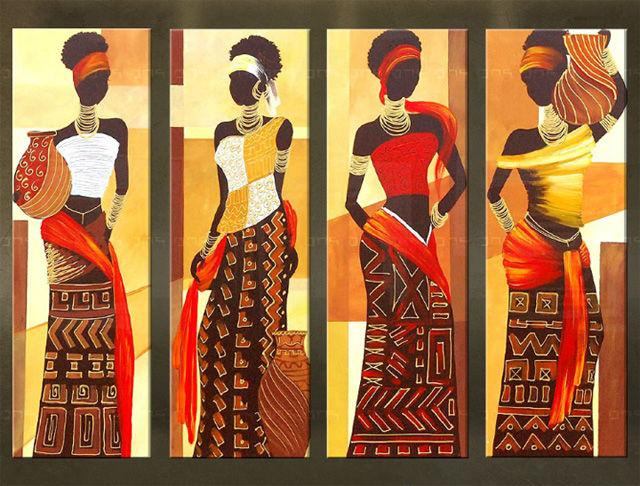 Handgeschilderd schilderij Afrika 4 delig 5516FA