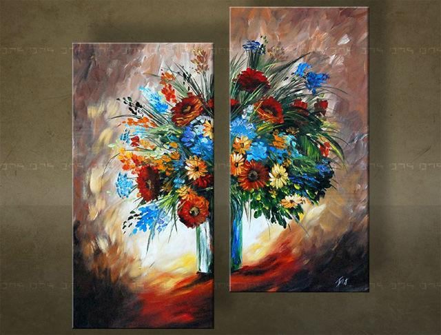 Handgeschilderd schilderij Bloemen 2 delig 5533FA