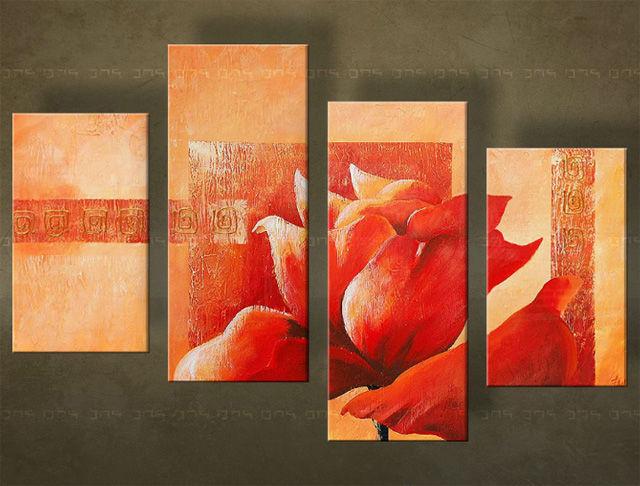 Handgeschilderd schilderij Bloemen 4 delig 5553FA