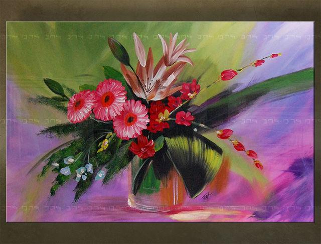 Handgeschilderd schilderij Bloemen 1 delig 5695FA