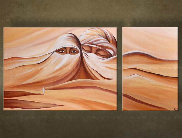 Handgeschilderd schilderij Egypte 2 delig 5710FA