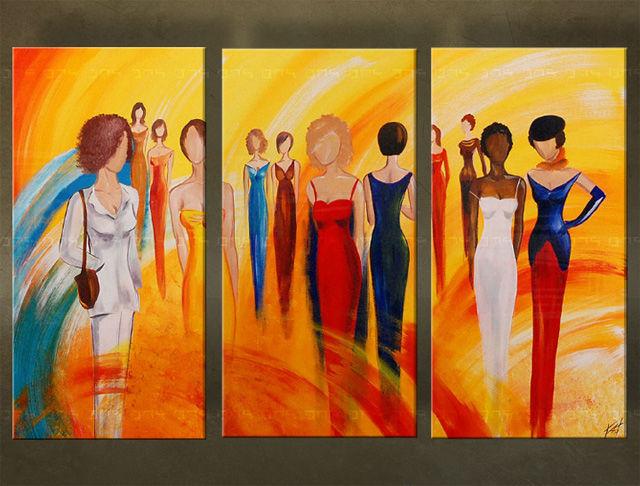 Handgeschilderd schilderij Figuren 3 delig 5715FA