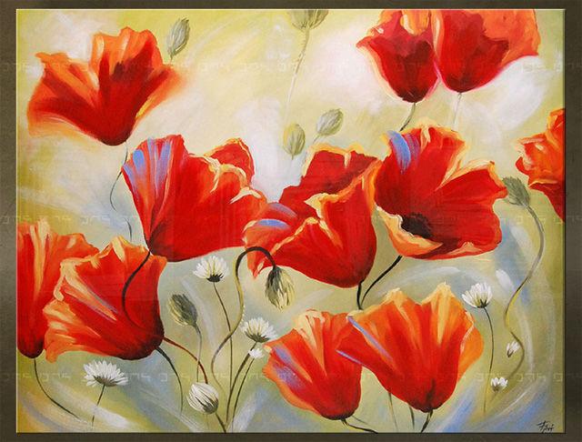 Handgeschilderd schilderij Bloemen 1 delig 5758FA