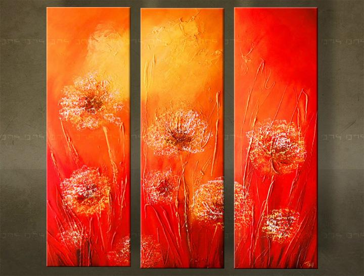 Handgeschilderd schilderij Bloemen 3 delig 5884FA