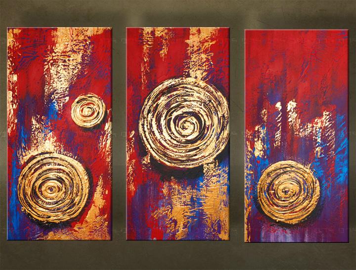 Handgeschilderd schilderij Abstract 3 delig 5906FA