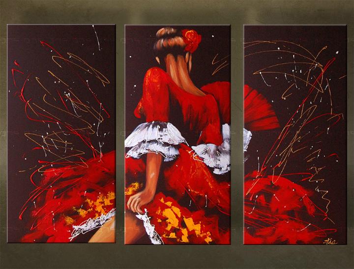 Handgeschilderd schilderij Dansen 3 delig 5957FA